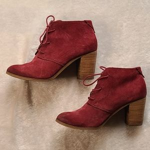 Tom's Red Suede Tie Up Ankle Boots